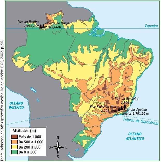Mapa Brasil altimetria